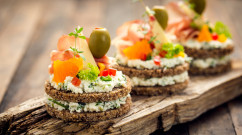 Canapes with prosciutto and cheese
